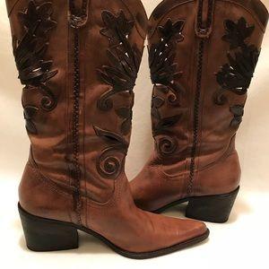 Carlos Santana Havana Brown Leather Size 10M Boots